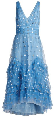 Marchesa Embellished Tiered Tulle Gown