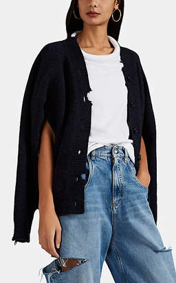 Maison Margiela Women's Distressed Mélange Wool Cardigan - Blue