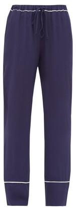 Marni Contrast-trim Crepe Pyjama Trousers - Navy