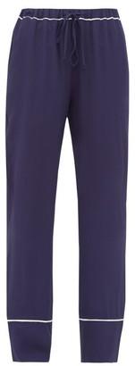 Marni Contrast-trim Crepe Pyjama Trousers - Womens - Navy