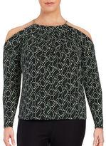MICHAEL Michael Kors Plus Snakeskin-Print Cold-Shoulder Top