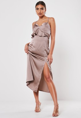 Missguided Bronze Cami Frill Bust Satin Midi Dress