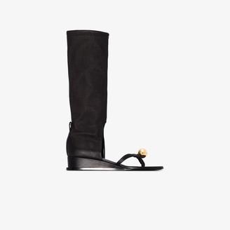 Jil Sander Black sphere leather sandal boots