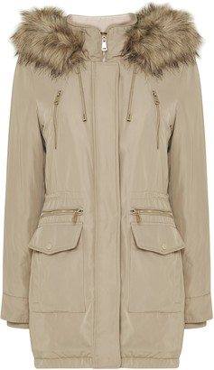 Wallis Stone Faux Fur Hood Parka Coat