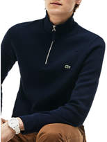 Lacoste Half Zip Cotton Knit Jumper, Navy