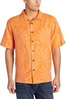 Margaritaville Men's Short Sleeve Palm Fronds Jacquard Silk Shirt