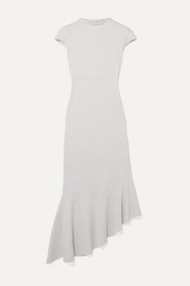 Aaizél aaizel - Net Sustain Asymmetric Ruffled Ribbed Cotton And Modal-blend Jersey Dress - Light gray