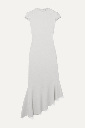 AAIZÉL Net Sustain Asymmetric Ruffled Ribbed Cotton And Modal-blend Jersey Dress - Light gray