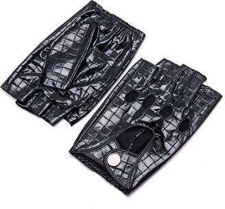YISEVEN Women Fingerless Sheepskin Leather Driving Gloves Thin Unlined Half Finger for Motorcycle Winter Work Protection gift Diamond Black 7.0 Medium