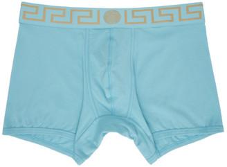 Versace Underwear Blue Greca Border Long Boxer Briefs