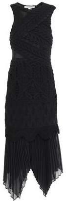 Jonathan Simkhai Paneled Crocheted Cotton And Georgette Midi Dress