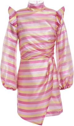 Paper London Spice Ruffled Printed Satin-crepe Mini Dress