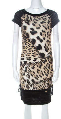 Roberto Cavalli Black and Brown Leopard Printed Jersey and Knit Short Dress S