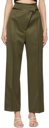 DRAE Khaki Wool Slanted Fastening Trousers