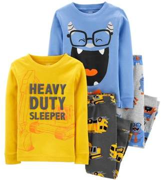 Carter's Child Of Mine By Child of Mine by Baby Toddler Boy Snug Fit Cotton Long Sleeve Pajamas, 4pc Set