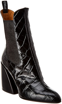 Chloé Croc-Embossed Leather Bootie
