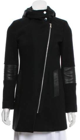 Andrew Marc Leather-Trimmed Hooded Wool Coat