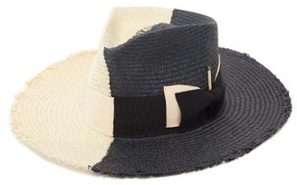 Nick Fouquet Tree Bones Frayed-brim Straw Fedora - Black Beige