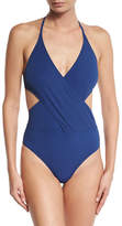 Tory Burch Solid Wrap-Front One-Piece Swimsuit