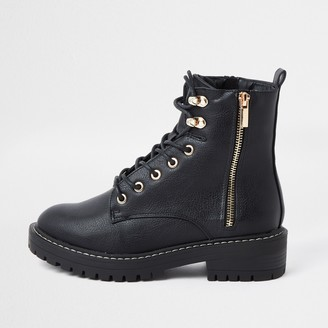 River Island Womens Black faux leather lace up chunky boots