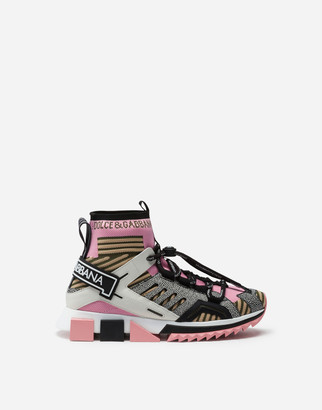Dolce & Gabbana Sorrento High-Top Trekking Sneakers In Multi-Colored Mixed Materials