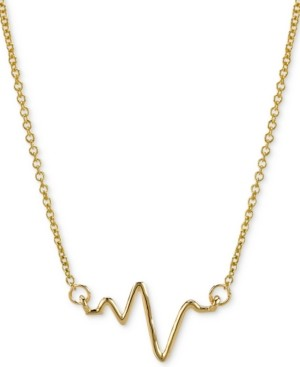 """Sarah Chloe Heartbeat Pendant Necklace in 14k Gold, 16"""" + 2"""" extender"""