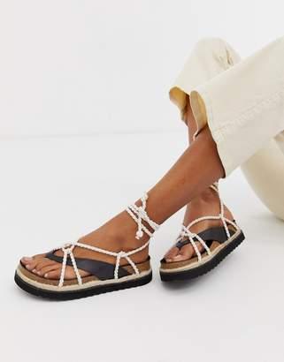 Kaltur black leather rope tie flat sandals