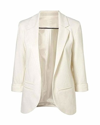 Guiran Womens Blazer Wedding Occasion Jacket Ladies Blazers Cardigan Jackets Elegant White 2XL