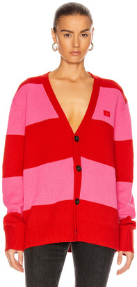 Acne Studios Kimano Block Stripe Cardigan in Red & Bubblegum Pink | FWRD