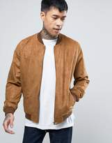 Asos Faux Suede Bomber Jacket in Tan
