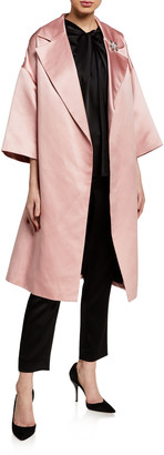 St. John Duchess Satin Dropped-Shoulder Opera Coat