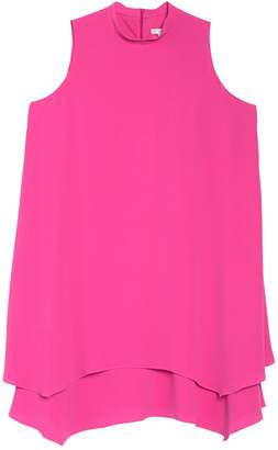 London Times Mock Neck Crepe A-Line Dress (Plus Size)