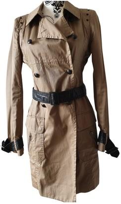 Ikks Brown Cotton Trench Coat for Women