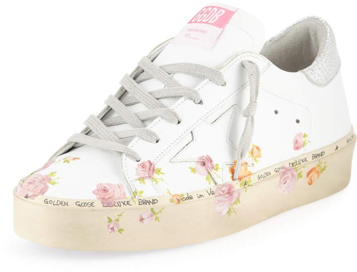 Golden Goose Hi Star Floral-Print Leather Platform Sneakers