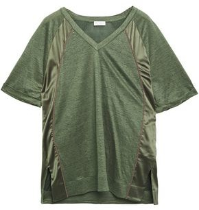 Brunello Cucinelli Satin-trimmed Linen And Silk-blend Jersey T-shirt