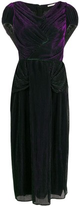 Marco De Vincenzo Plisse Midi Evening Dress