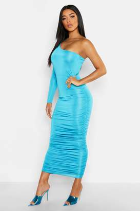 boohoo Long Sleeve Ruched One Shoulder Dress