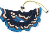 Marni Striped Cotton-blend Collar - Blue