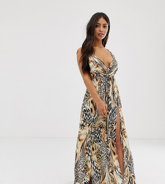 ASOS DESIGN Petite tie back cross front split maxi beach dress in spliced animal print