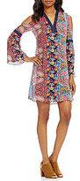 Cupio Floral Cold Shoulder Bell Sleeve Dress