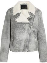 McQ Alexander McQueen Distressed Shearling Biker Jacket