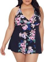 Leilani Plus Size Kauai Garden Swim Dress