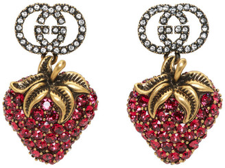Gucci Red Crystal Strawberry Earrings