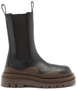 Bottega Veneta Tire Waved-sole Leather Boots - Black Brown