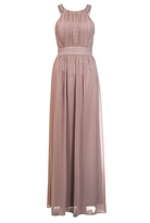 Quiz Mocha Chiffon Embellished High Neck Maxi Dress
