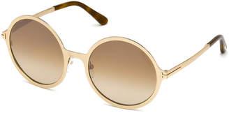 Tom Ford Round Gradient Metal Sunglasses