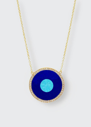 Jennifer Meyer Lapis and Turquoise Evil Eye Pendant Necklace with Diamonds