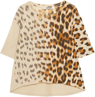 Roberto Cavalli Crystal-embellished Degrade Leopard-print Cotton-jersey T-shirt