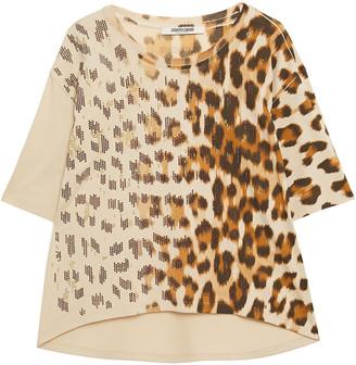 Roberto Cavalli Crystal-embellished Leopard-print Cotton-jersey T-shirt