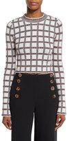 Derek Lam 10 Crosby Long-Sleeve Plaid Cropped Top, Cream/Multicolor